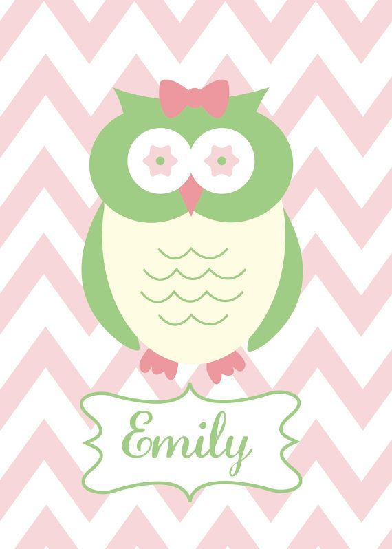 Personalized Owl Print for Girl