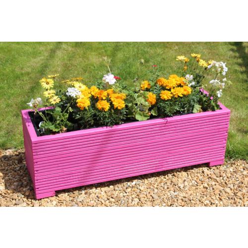 Pink Garden Planters: 1 METRE LARGE WOODEN GARDEN TROUGH PLANTER IN DECKING