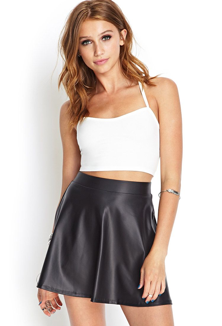 7a67f3efcd9bd6 Faux Leather Skater Skirt $12.80 | fashion | Leather skater skirts ...