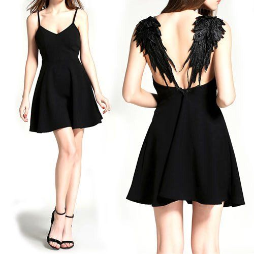 635dce49ac Limited Time $29.95 Sale: The Dark Angel Dress is a fitted black dress with  a unique angel wing design that forms the shoulder straps.