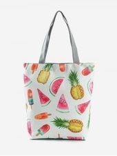 Photo of Canvas Fruit Printed Tote Bag  Handbag Type: Totes  Style: Casual  Gender: For W…