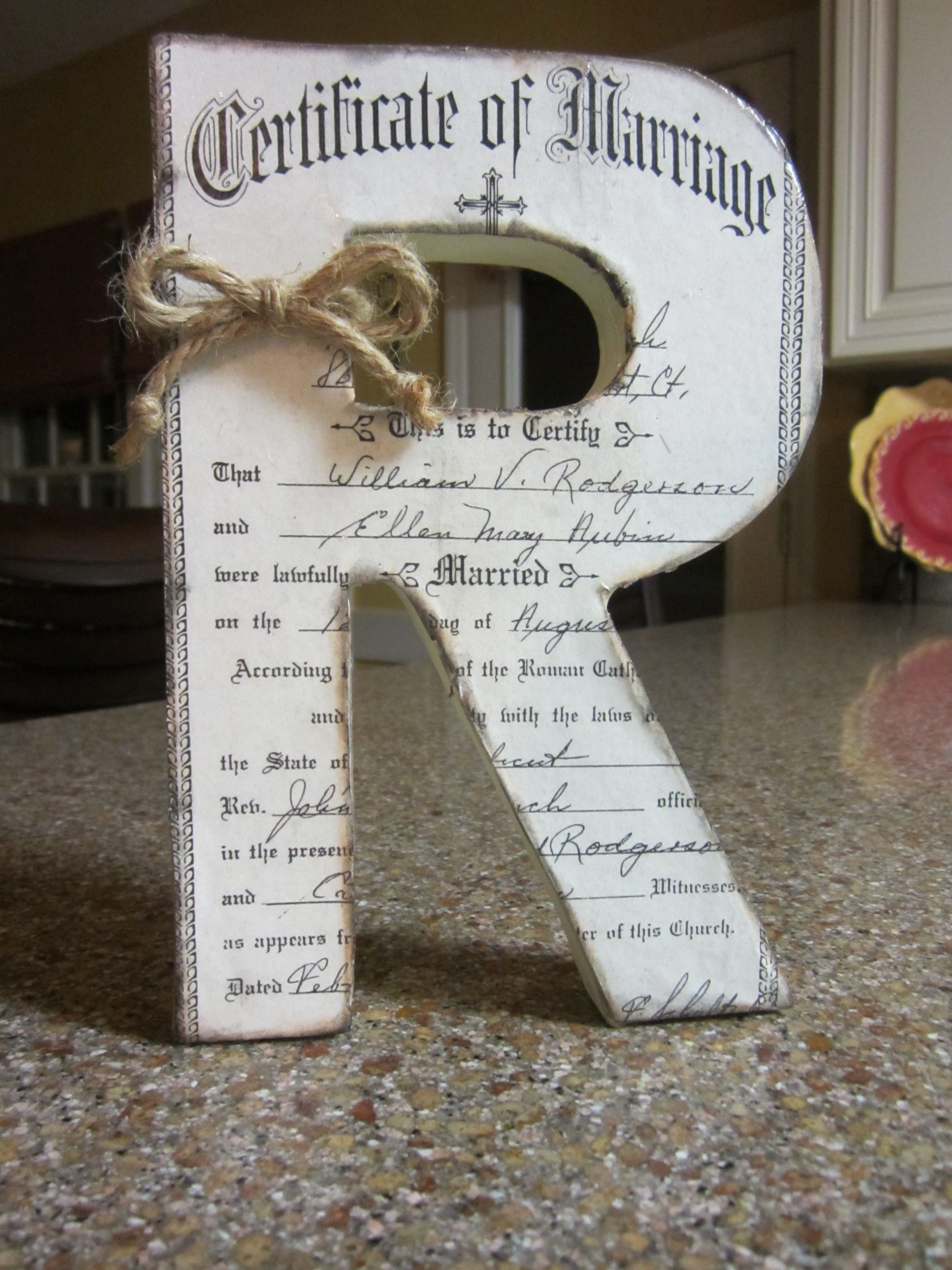 Wedding anniversary decorations at home  Copy of Grandparentus marriage certificate onto their initial as a