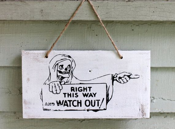 Halloween Wood Sign Skeleton Grim Reaper Rustic Door Wall Hanging Wooden Inside Outside Decor Art $11