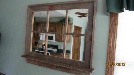 Barnwood Window Mirror With Shelf Large Size Window Mirror Mirror With Shelf Window Pane Mirror