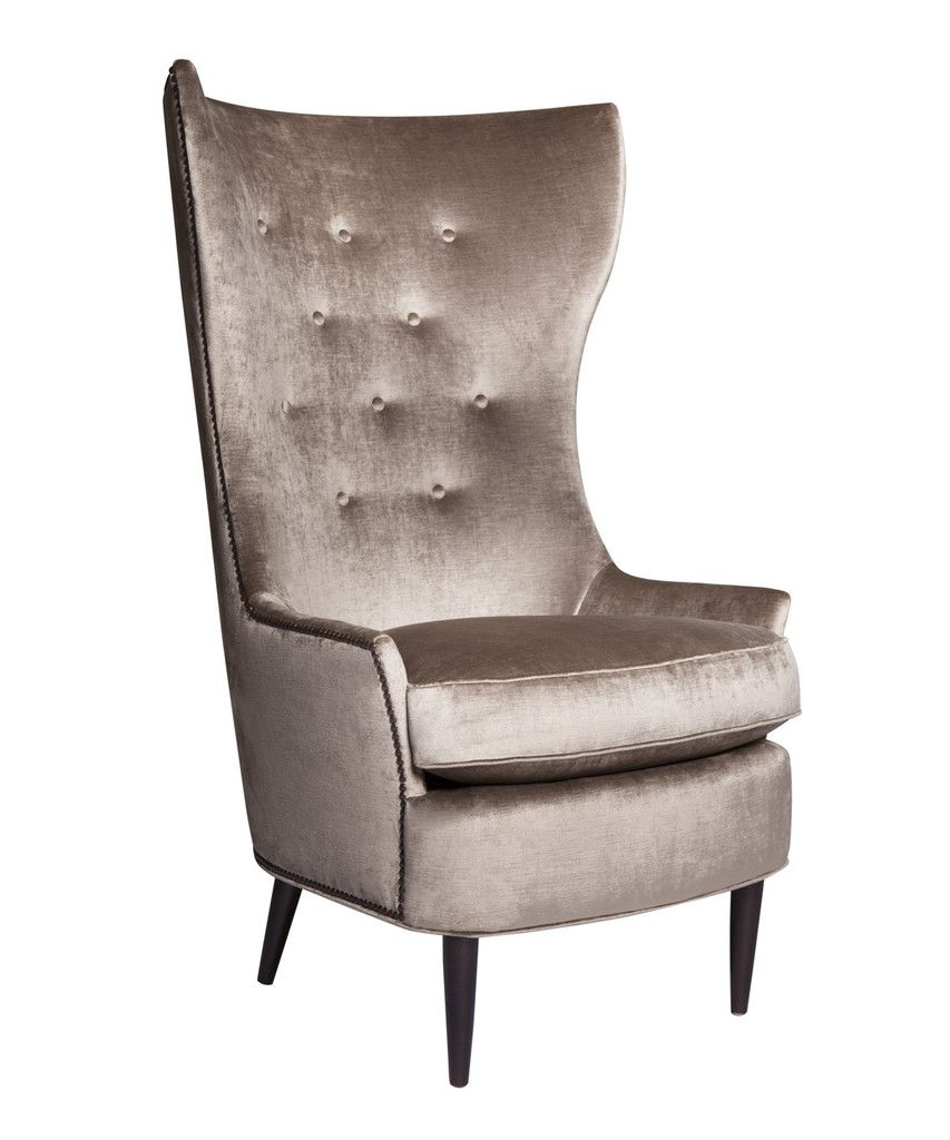 Tufted High Back Chair Sophie Velvet Wingback Chair Hollywood Regency Furniture Decor