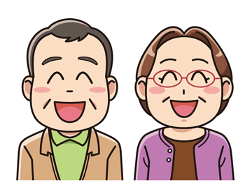 笑顔のシニアの夫婦 無料イラスト素材 การออกแบบต วละคร