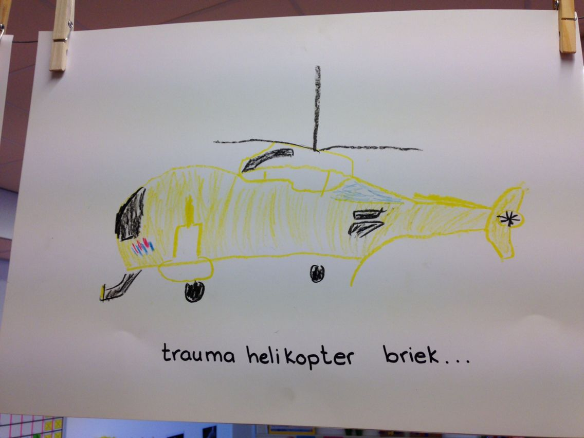 traumahelikopter met vetkrijt