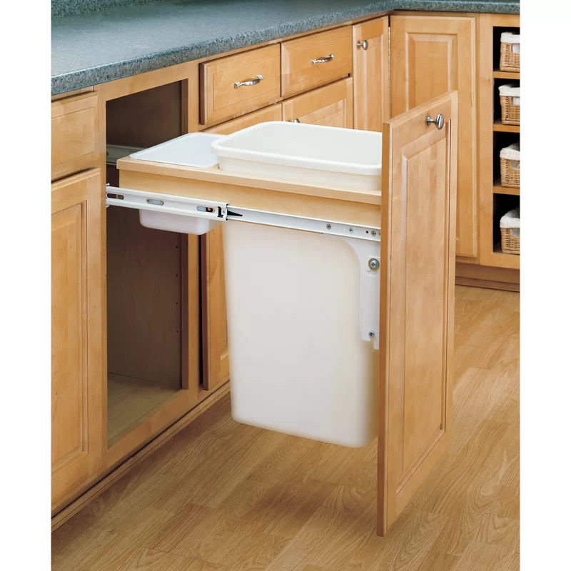 Rev A Shelf Top Mount 12 5 Gallon Pull Out Under Counter Trash Can In 2021 Building Kitchen Cabinets Rev A Shelf Diy Kitchen Island