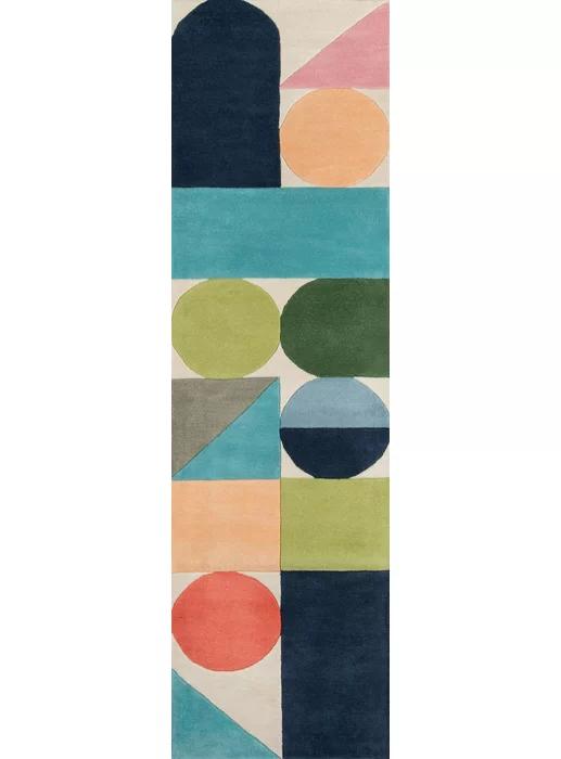 Geometric Handmade Tufted Wool Blue Green Orange Area Rug Boho