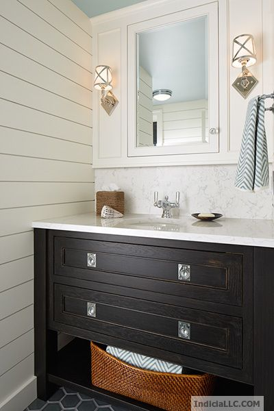 Coastal Vibe Bathroom Vanity With Ship Lap Siding Blue