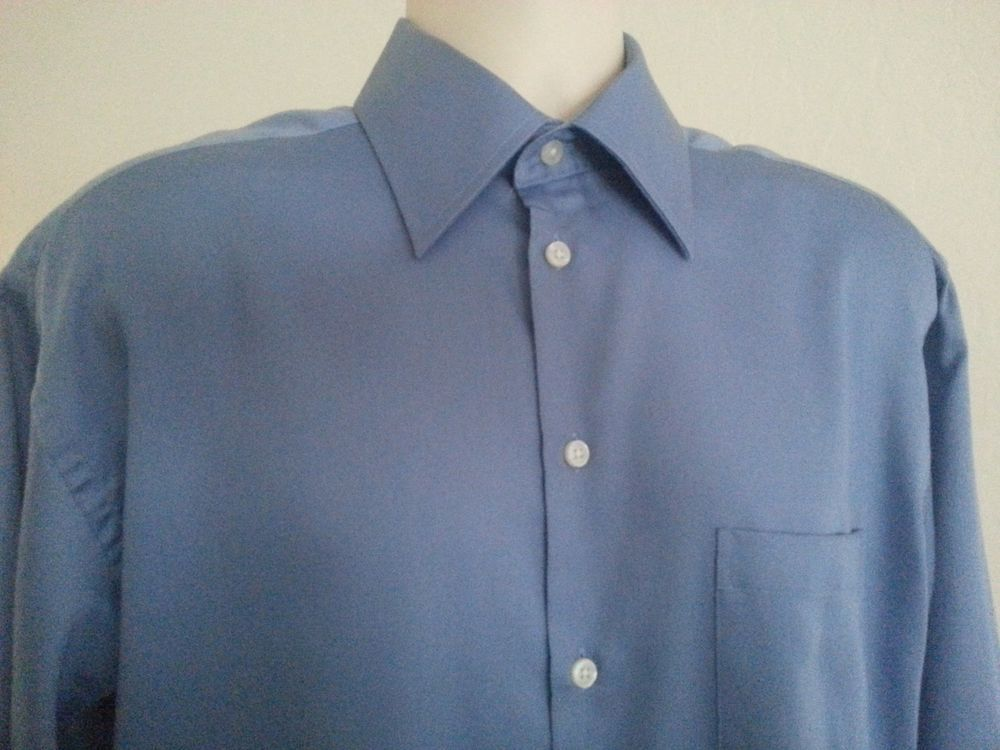 CLAIBORNE MEN'S SHIRT 15.5 32/33 M LONG SLEEVE BLUE SOLID COTTON STANDARD CUFF #Claiborne #ebay #Claiborne #Shirt #StandardCuff