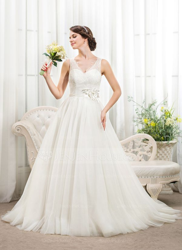 Ball-Gown V-neck Chapel Train Beading Flower(s) Sequins Zipper Up Covered Button Regular Straps Sleeveless Church General Plus No Spring Summer Fall Ivory Tulle Lace Wedding Dress