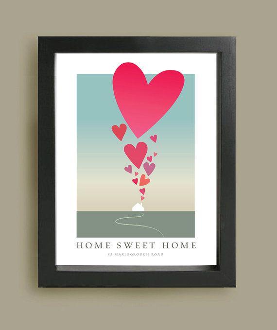 Home sweet home affiche imprimer nouvelle maison cadeau de pendaison de cr maill re house et - Idee cadeau nouvelle maison ...