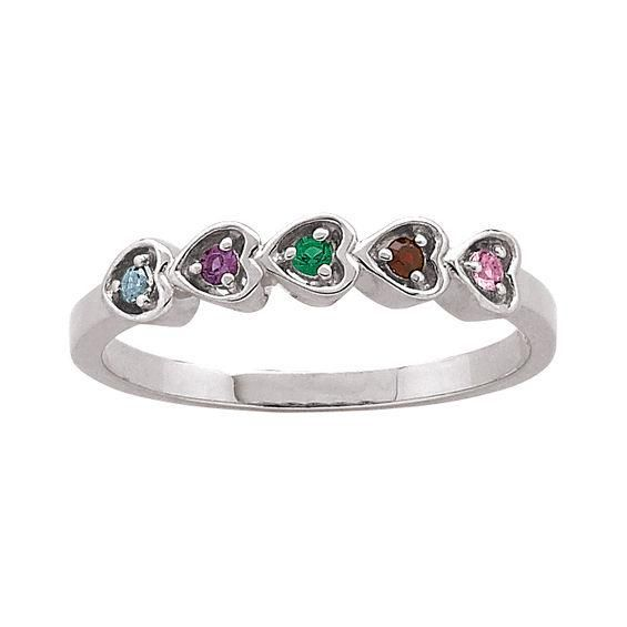 Zales Mothers Simulated Birthstone Family Heart Ring in Sterling Silver (4 Names and 5 Stones) eGeOk