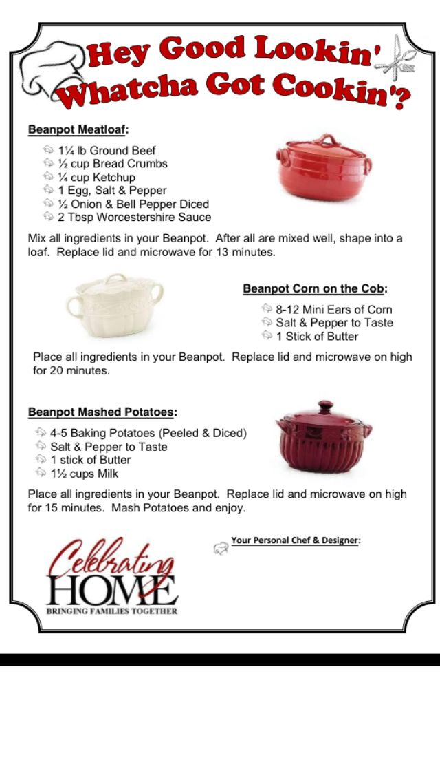Celebrating Home Bean Pot Recipes! Order Here! Http://www.celebratinghome
