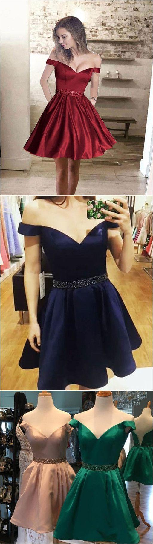 V neck off shoulder prom dress short homecoming dress beaded sashes