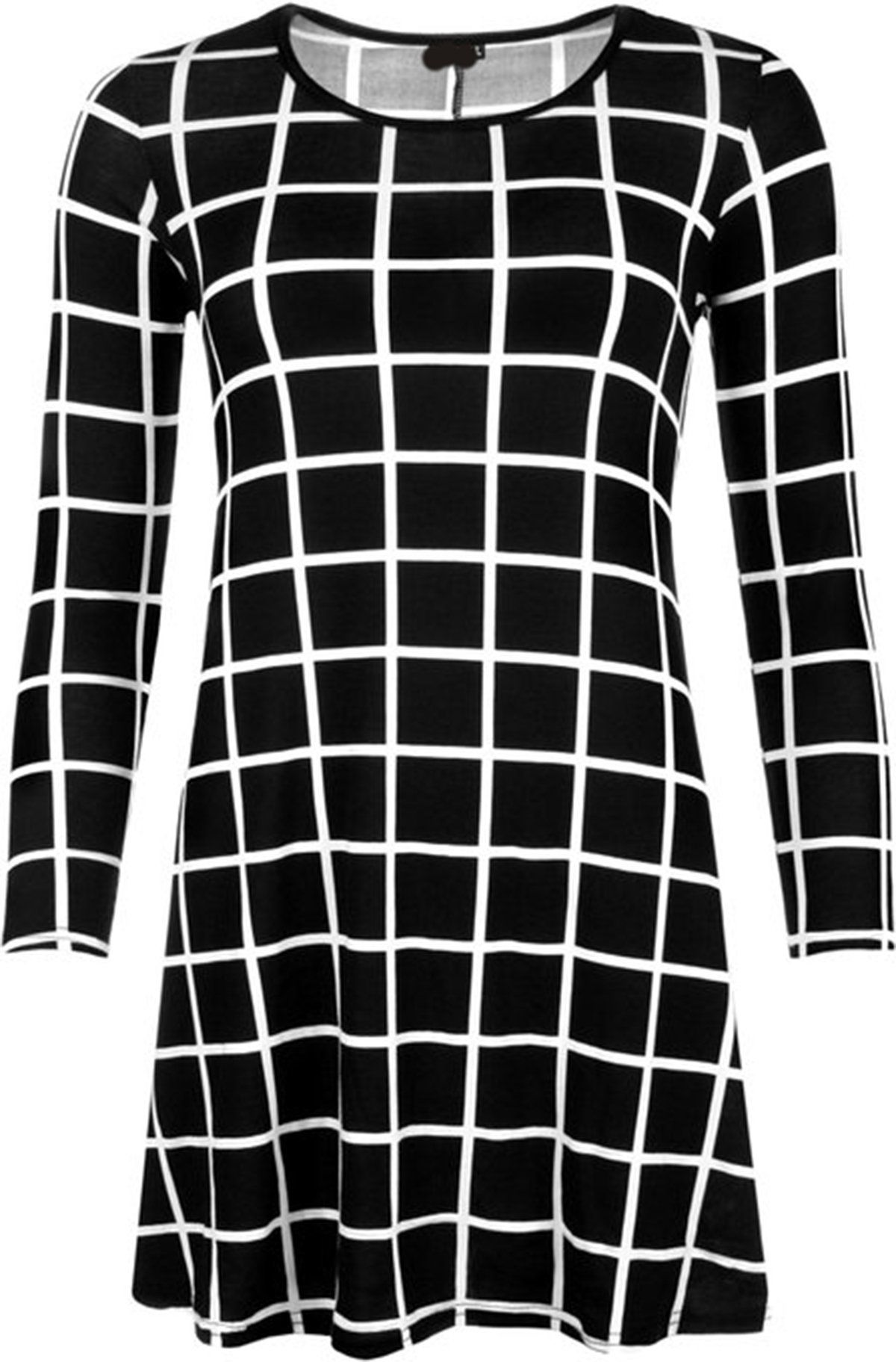 9d5cbd3f87a Girls Walk Women Grid Check Print Long Sleeve Swing Flared Top Dress Plus  Size --