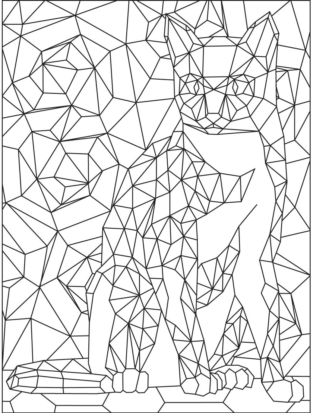 Geometric Cat colouring page | Colorish App : free ...