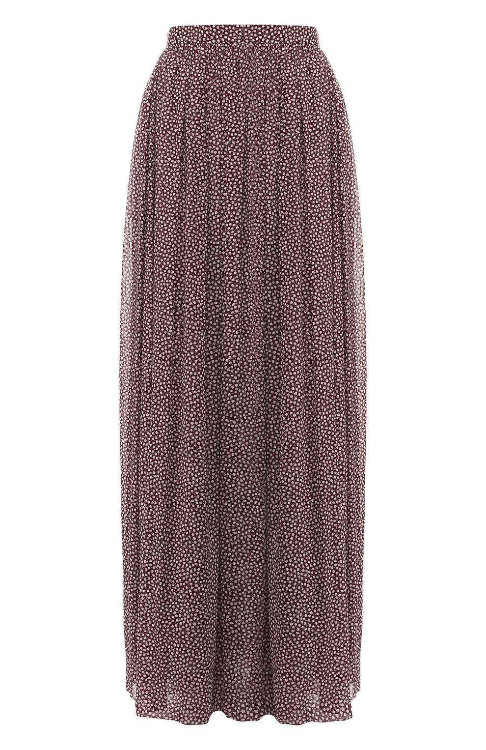 43212300cdd Женская бордового шелковая юбка-макси с принтом ALEXANDER TEREKHOV