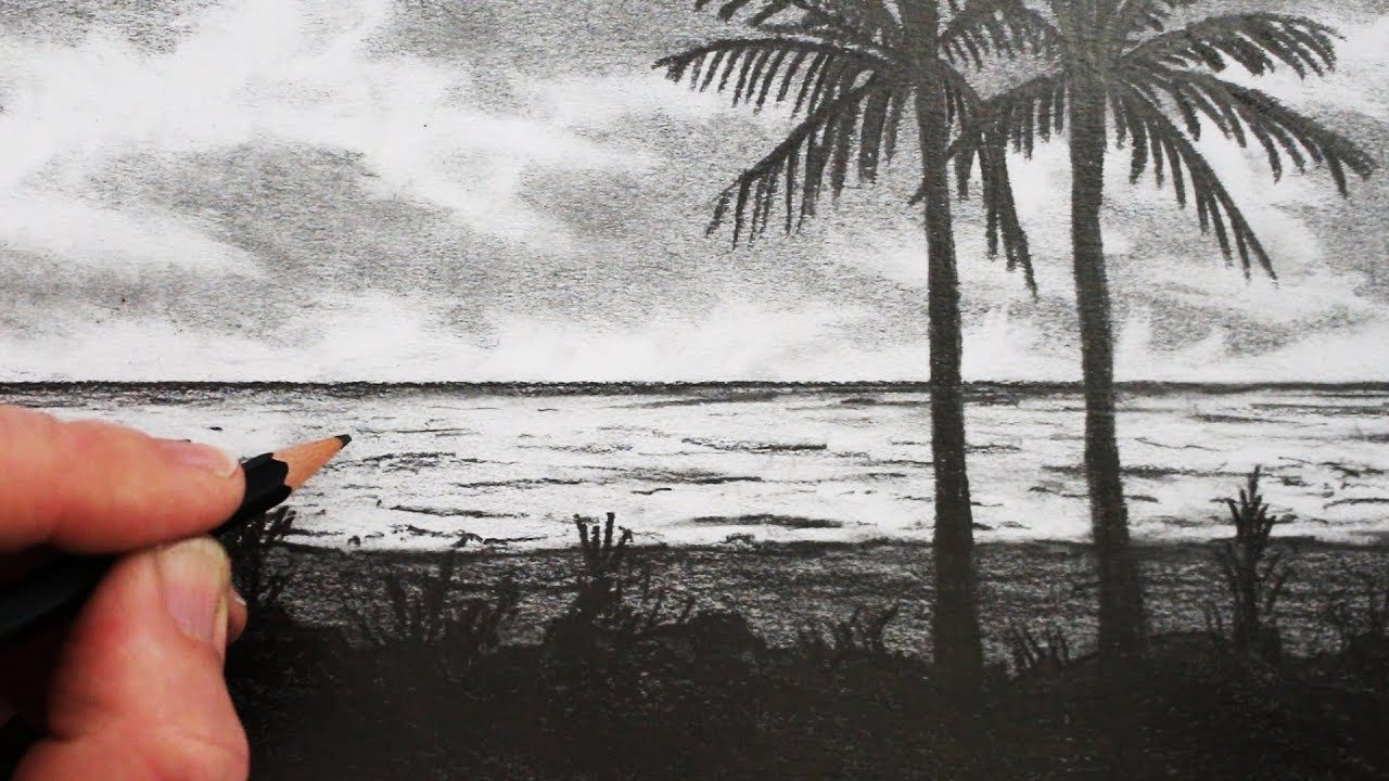 How To Draw A Beach Pencil Drawing Step By Step Pencil Drawings Summer Drawings Beach Sketches