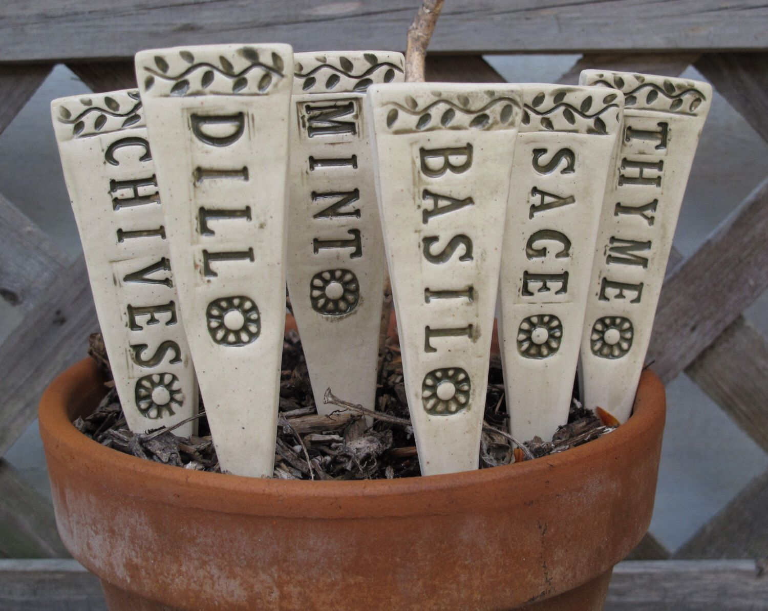 Ceramic Herb Markers, Herb Stakes, Handmade Pottery Garden Markers, Set Of  6 Herb