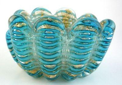 Murano Cordonato D' Oro Barovier Toso Turquoise Art Glass Bowl Mid Century | eBay