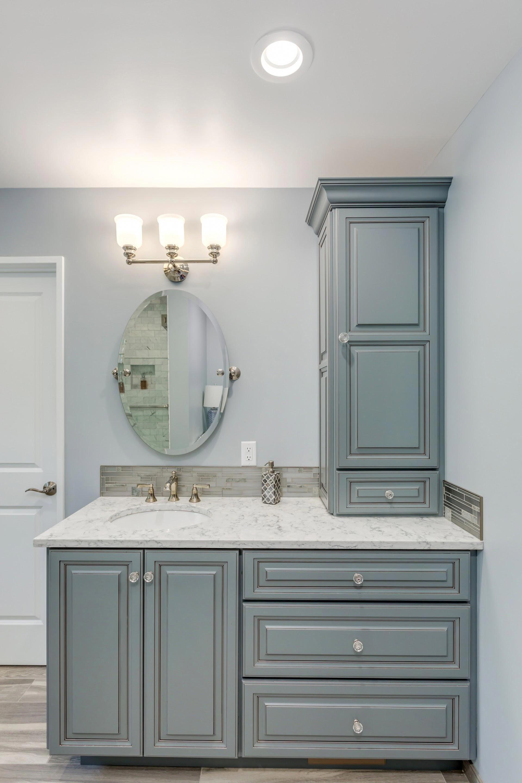 A Custom Vanity With Storage Tower Bathroomdecor Custom Bathroom Vanity Custom Bathroom Bathroom Renovation Diy