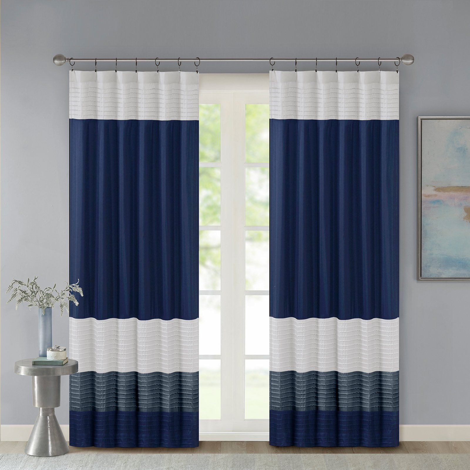 Madison Park Amherst Polyoni Pintuck Lined Curtain Panel