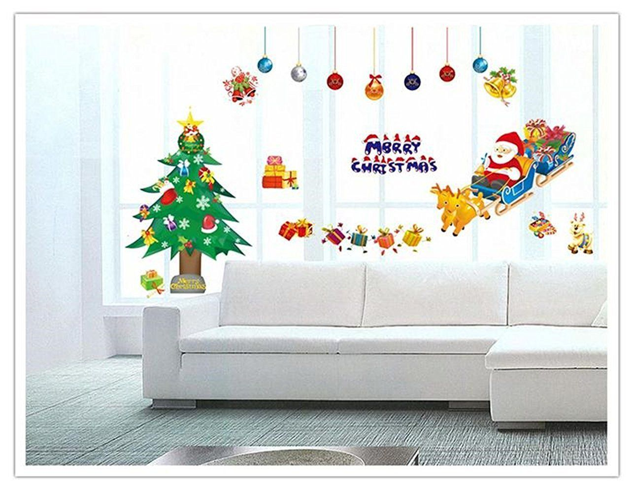 Christmas Reindeer Sleigh Santa Snow Wall Quote Decals Stickers Decor Art Mural