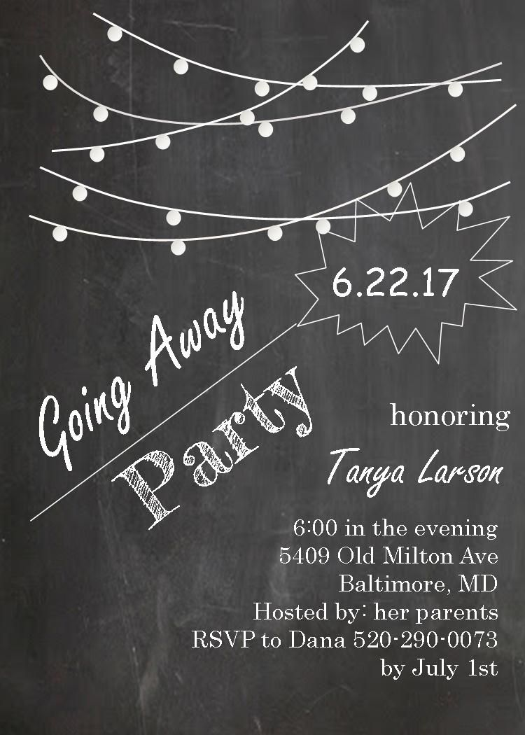 Going Away Party Invitations Farewell Blackboard With String Lights - Party invitation template: going away party invitation templates