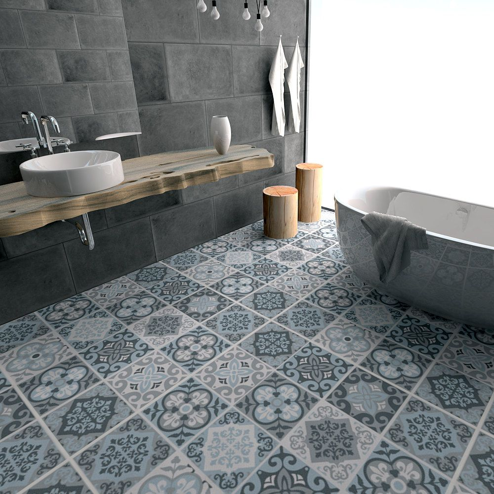 Vintage Blue Grey Tile Decal - Floor tile decal - Bathroom flooring ...