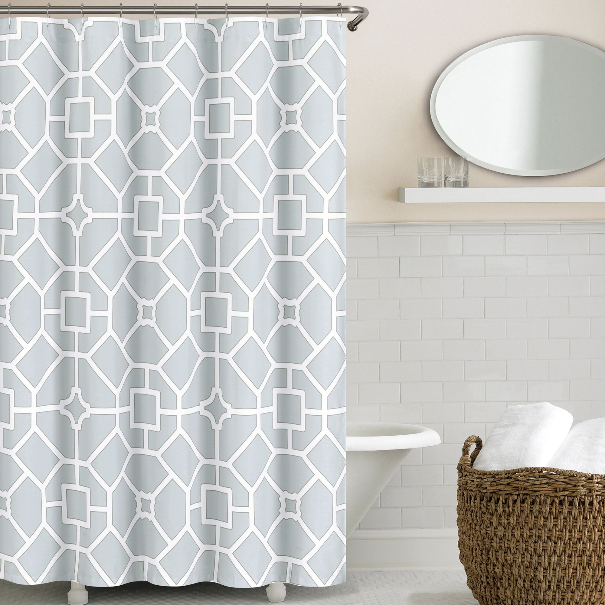 Echelon Home Gramercy Shower Curtain Baby Blue Cotton Blend