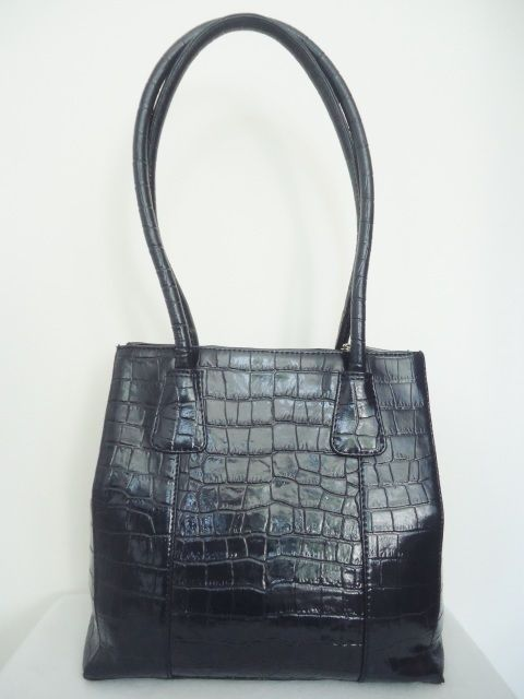 O S P Osprey Handbag Blue Leather Moc Croc Tote Shoulder Work Bag