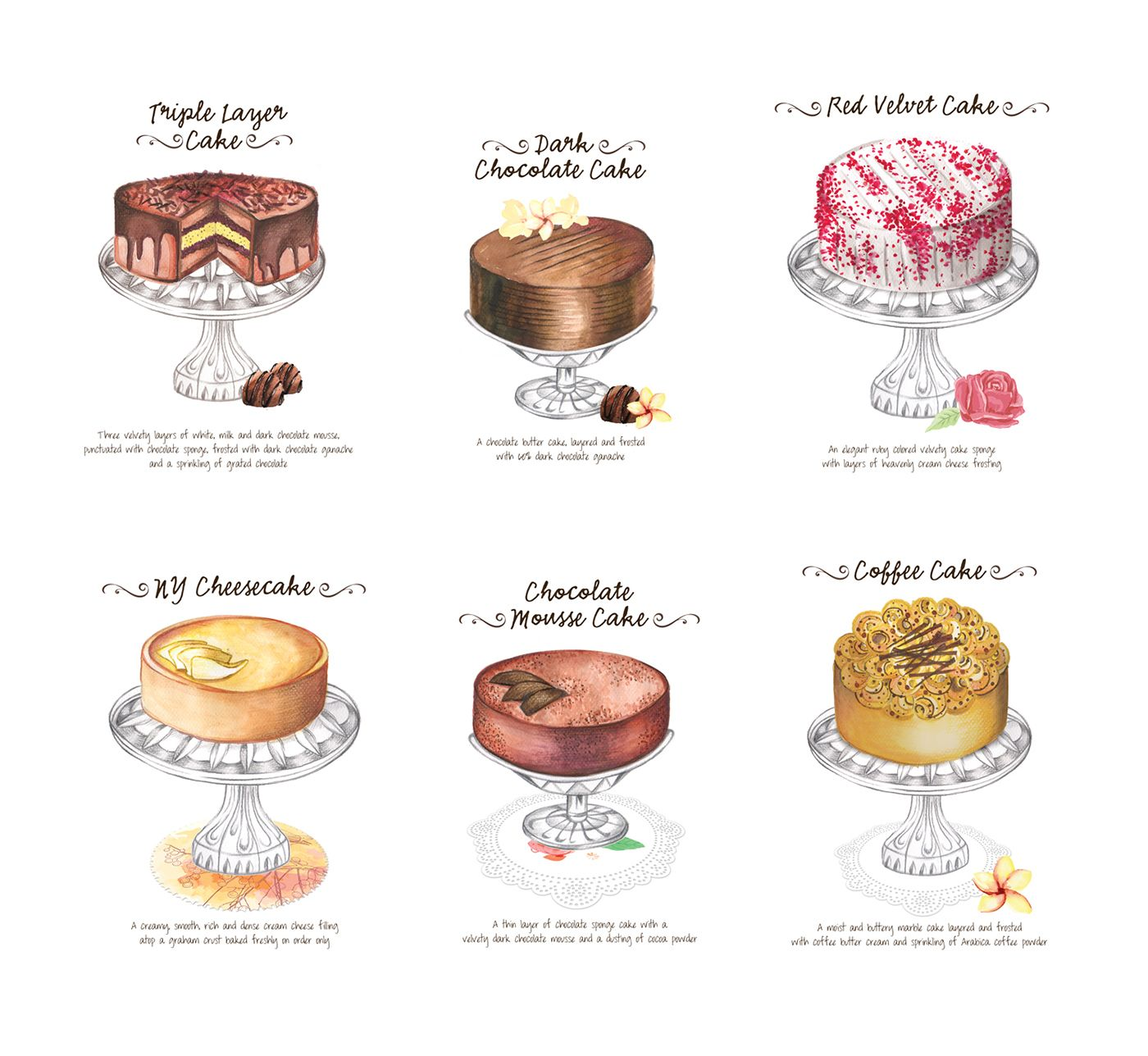 Lals Cake Menu Illustrations On Behance Menu Illustration Desserts Drawing Dessert Illustration