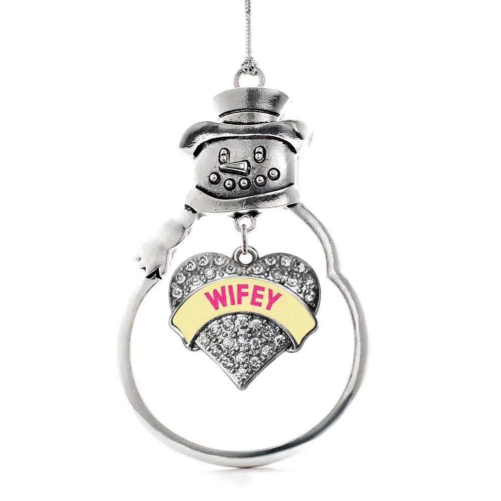Wifey Yellow Candy Pave Heart Charm Holiday Ornament