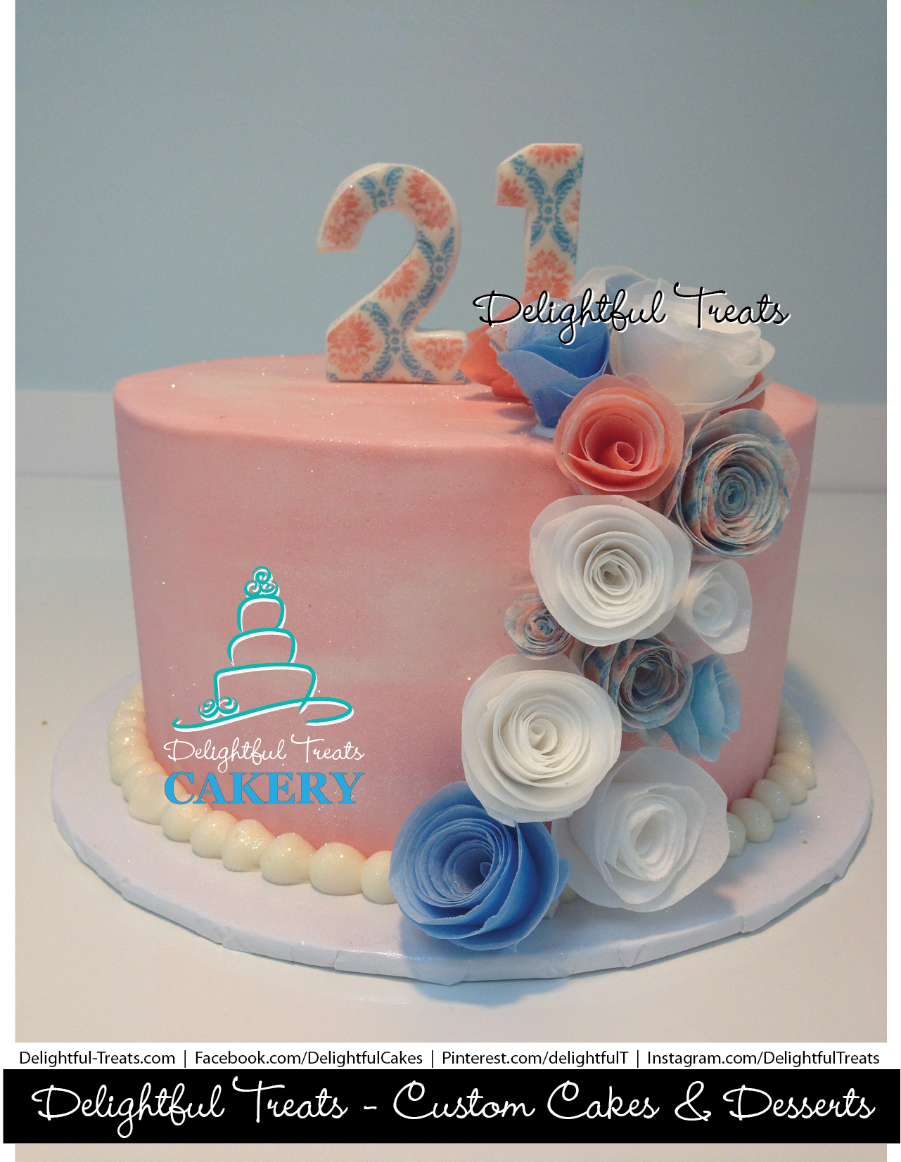 Coral Buttercream Birthday Cake With Aqua Coral White Edible