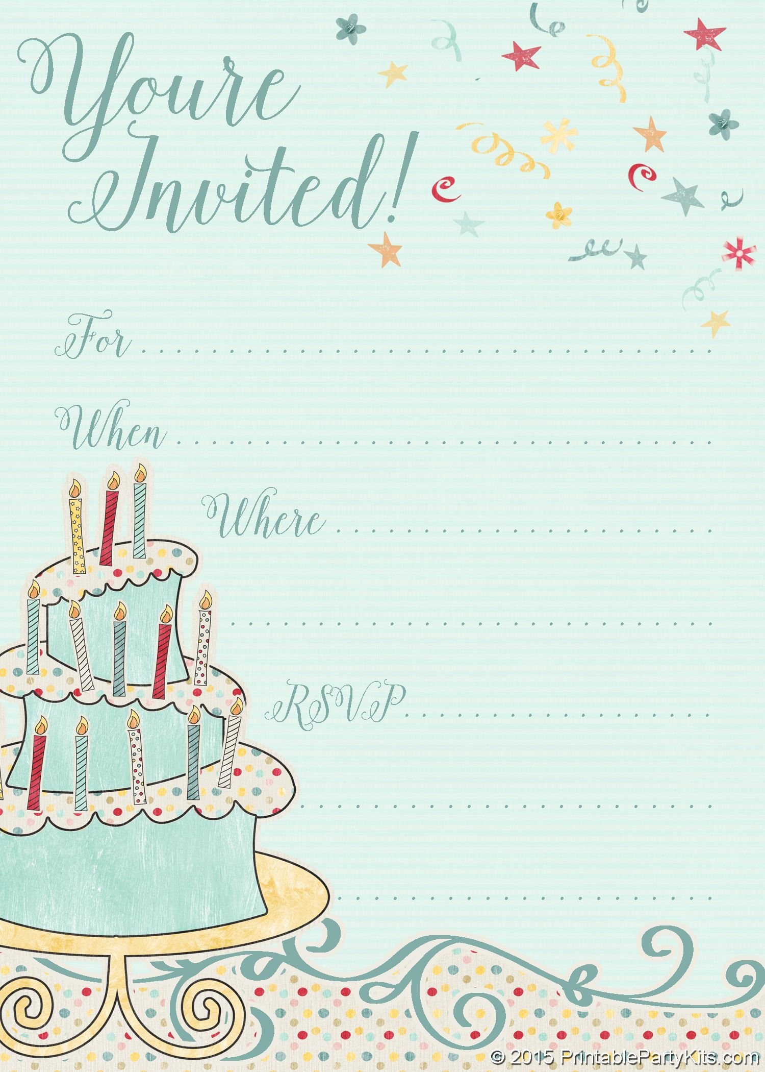 free printable whimsical birthday party invitation template party
