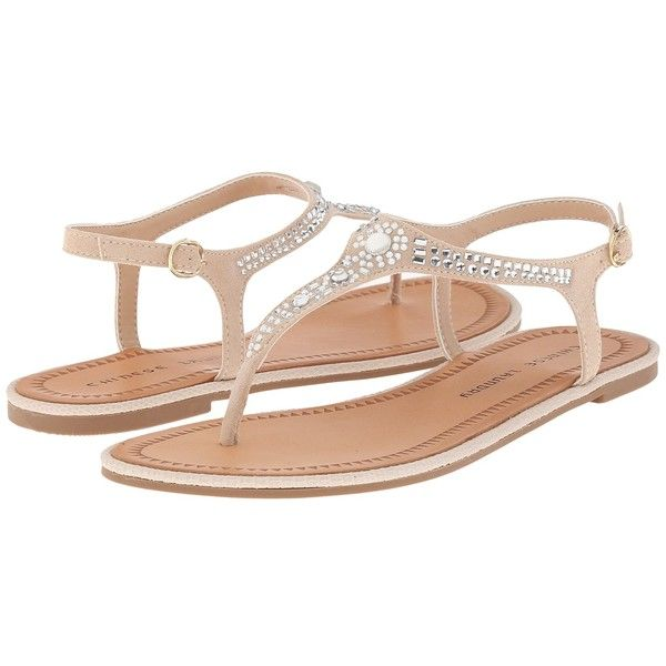 Chinese Laundry Genya (Sand Micro Suede) Women's Shoes ($49) ❤ liked on Polyvore featuring shoes, sandals, chinese laundry sandals, suede leather shoes, synthetic shoes, jeweled shoes and jewel sandals