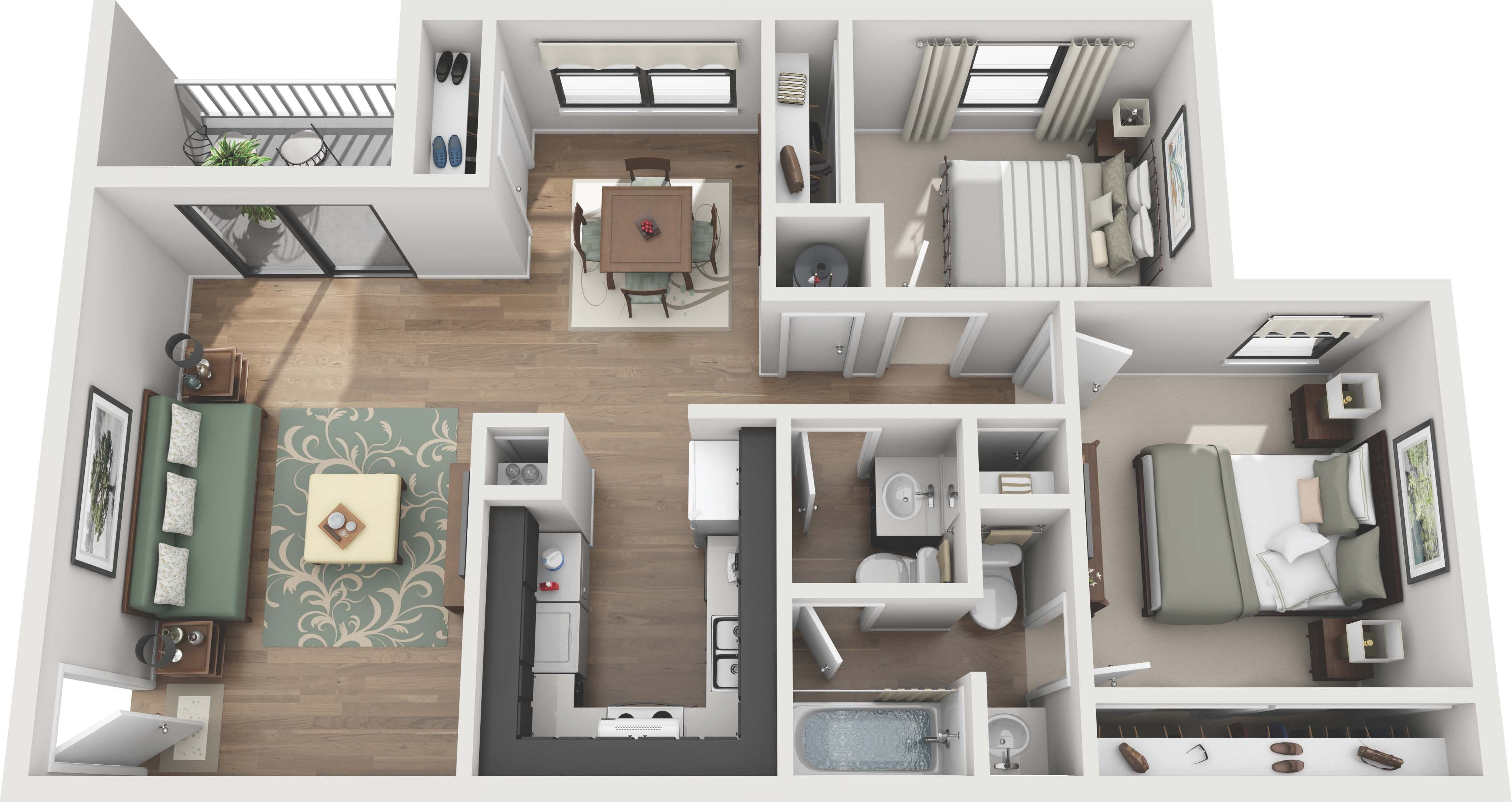 50 Plans En 3d D Appartements Et Maisons Page 4 Sur 6 Apartment Bedroom Design Small Apartment Floor Plans Bedroom Layouts