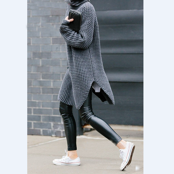 Loose High-Necked Knit Sweater from clothing