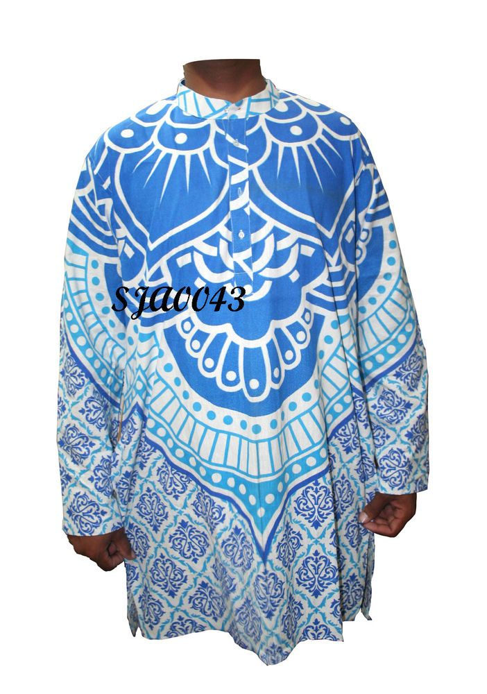 bb38b270ddcac 100% Cotton Men s Shirt Indian Kurta Plus Size Ethnic Night Wear Plain Shirt   Handmade  ButtonFront