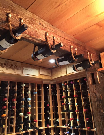 Old world hanging bottle display with wine crate panel for Where can i find old wine crates