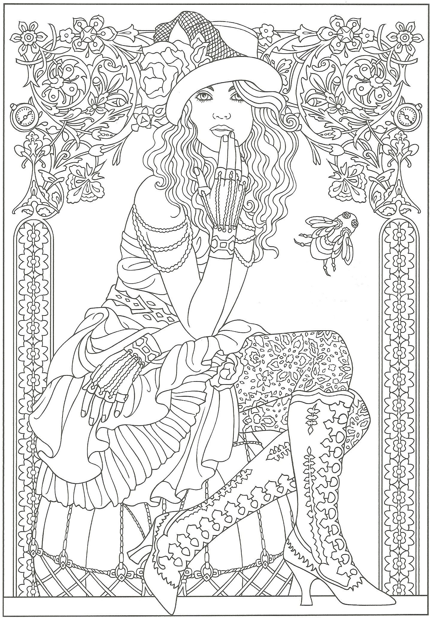 Flower drawings on pinterest dover publications coloring pages and - From Creative Haven Steampunk Fashions Coloring Book Dover Publications