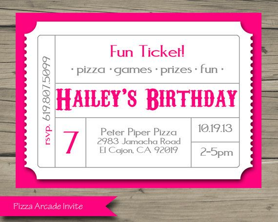 Pizza Arcade Birthday Party Invitation Printable Birthday Invite Diy Digital Chuck Arcade Birthday Parties Birthday Invitations Birthday Party Invitations
