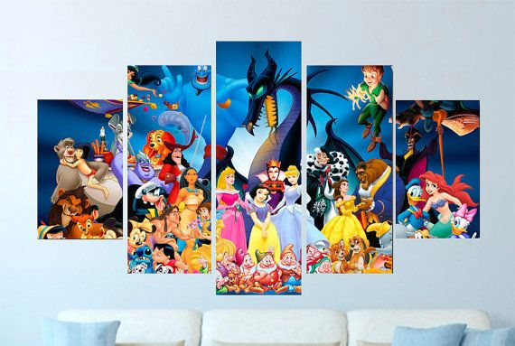 5 Panel Canvas Disney Characters For The Nursery Art Kids Etsy Customized Canvas Art Princess Wall Art Wall Art Pictures