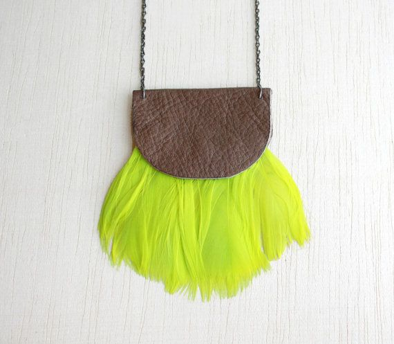 Green/yellow neon necklace feathers and brown leather