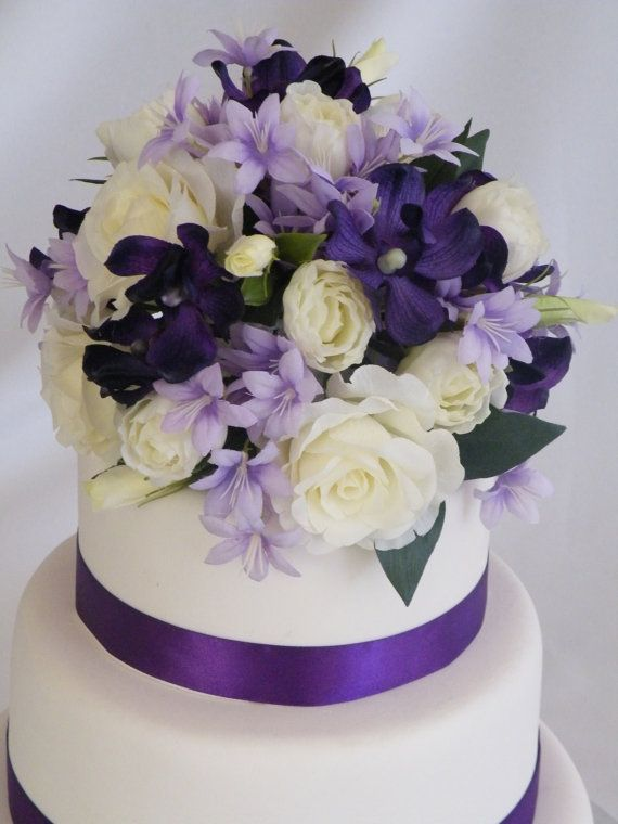 Wedding cake topper purple decoration silk flowers this stunning wedding cake topper purple decoration silk flowers this stunning cake topper and side decoration will become a lasting memento of your special day junglespirit Image collections