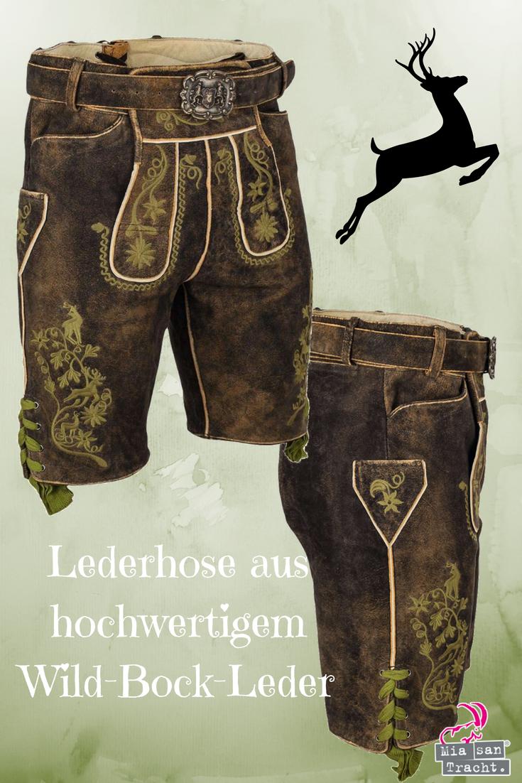 mehrere farben Offizieller Lieferant riesige Auswahl an Kurze Herren-Lederhose braun mit Gürtel grün bestickt ...