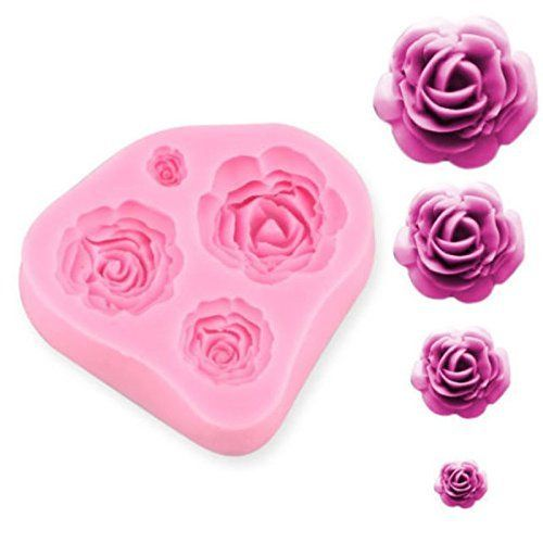 4 Size Roses Flower Silicone Cake Mould Chocolate Sugarcraft Decorating Fondant Fimo Tool Gift Napoer Cake Molds Silicone Flower Molding Rose Cake Decorating