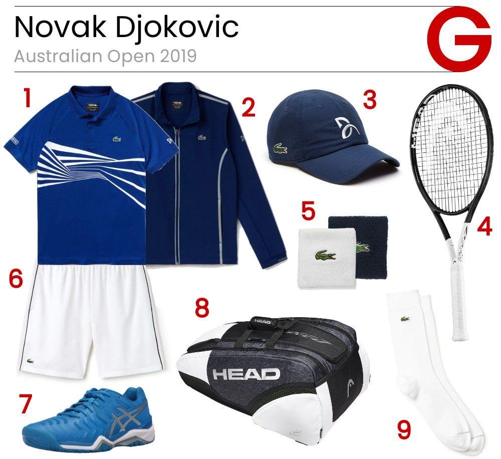 Novak Djokovic Tennis Outfit Tennis Gear Head 360 Tennis Racket Tennis Shoes Head Tennis Bag Tennis Caps Tennis Clothes Novak Djokovic Tennis Gear